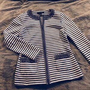 ST. JOHN Navy & White Zipper Cardigan